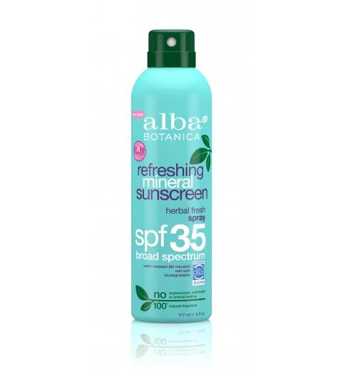 Alba Botanica Refreshing Mineral Spray Sunscreen SPF 35 / Освежающий минеральный солнцезащитный спрей SPF 35, 177 г