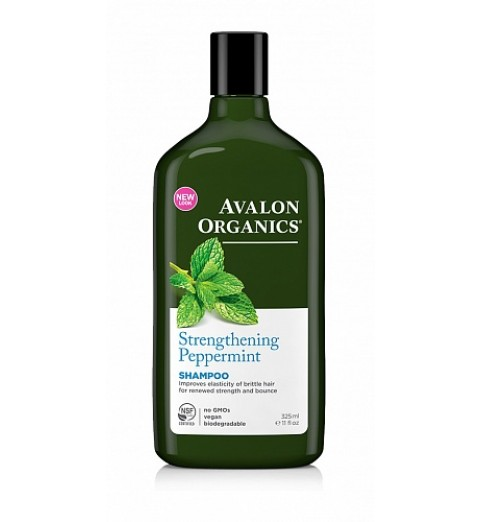 Avalon Organics Peppermint Strenghtening Shampoo / Укрепляющий шампунь для слабых и тонких волос с маслом мяты, 325 мл