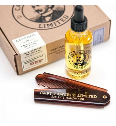 Подарочный набор Captain Fawcett Beard Oil & Folding Pocket Beard Comb