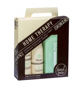 Delta Studio Набор домашней терапии для поврежденных, тонких волос и предупреждения их выпадения (Шамп R1, Восст R2, Лосьон R3)