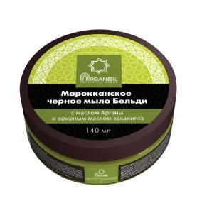 Diar Argana Arganoil Fruits Du Maroc / Марокканское черное мыло Бельди c маслом Арганы и ароматом эвкалипта, 140 мл