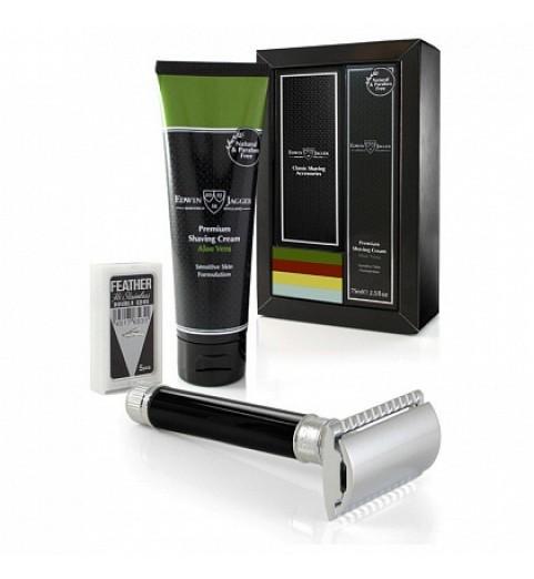 Подарочный набор для бритья Edwin Jagger GS414SCLPT (Т-образный станок DE86, черная смола)