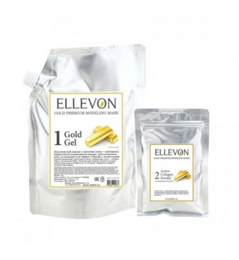 Ellevon (Эллевон) Gold Premium Modeling Mask / Премиум Альгинатная маска с золотом (гель + коллаген), 1000 мл + 100 мл