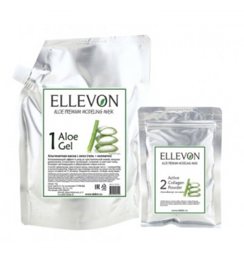 Ellevon (Эллевон) Aloe Premium Modeling Mask / Премиум Альгинатная маска с алоэ (гель + коллаген), 1000 мл +100 мл