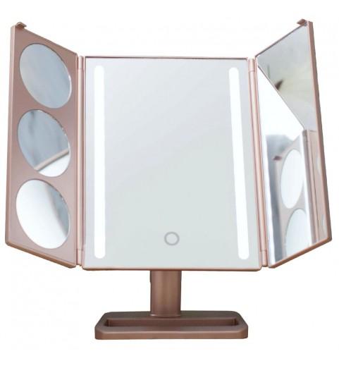 Настольное зеркало uLike Gold для макияжа с подсветкой из 2 светодиодных полосок раскладное