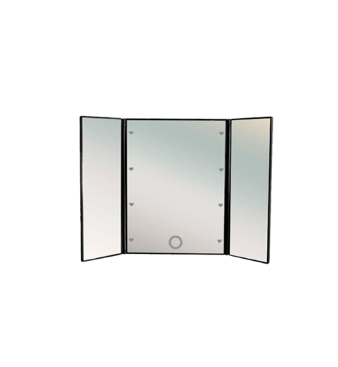 Складное трехстворчатое косметическое зеркало uLike Porto для макияжа с подсветкой