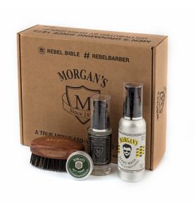 Morgans Подарочный набор для бороды с тестером матовой помады для укладки