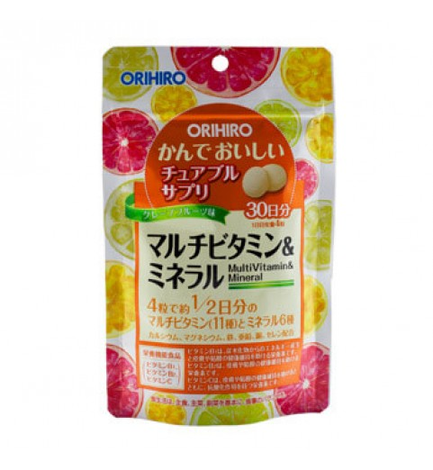 """Orihiro (Орихиро) БАД """"Мультивитамины и минералы со вкусом тропических фруктов"""", 120 таблеток"""
